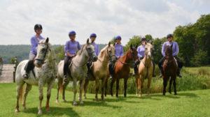 Group of campers on horseback