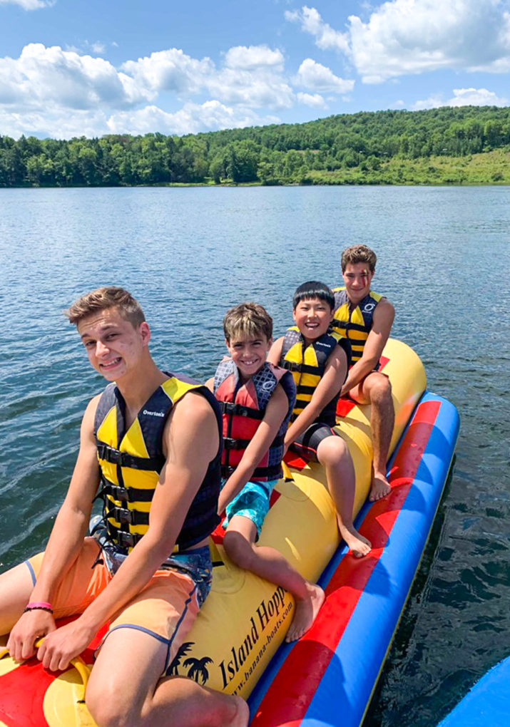 Campers on the banana boat