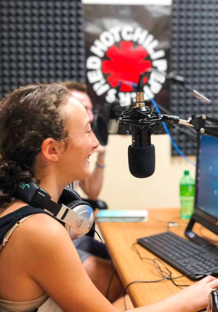 Camper in the radio studio