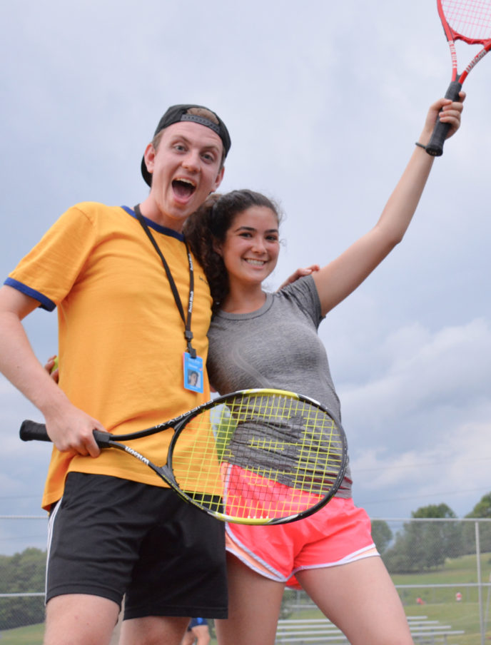 Campers with tennis racquets