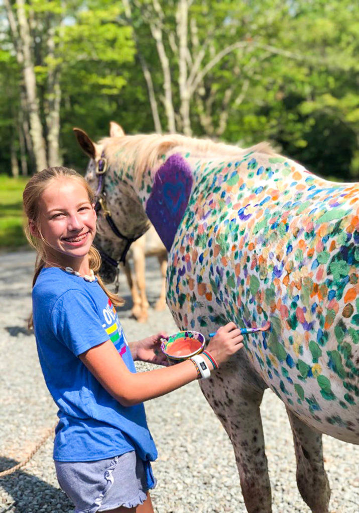 Camper painting a horse