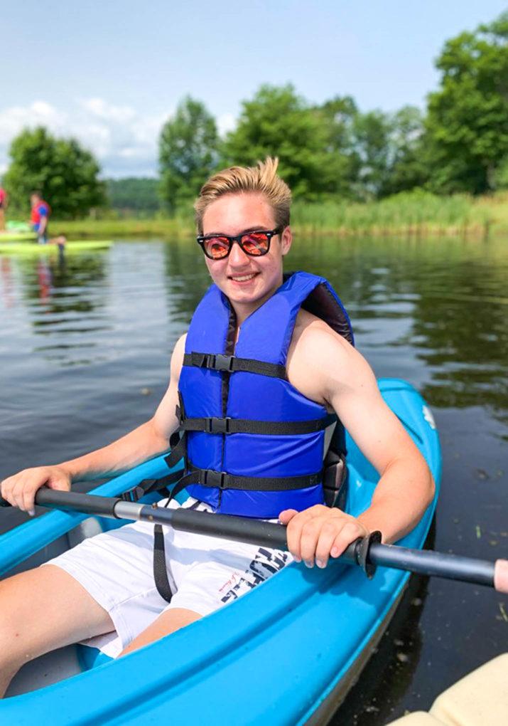 Camper kayaking