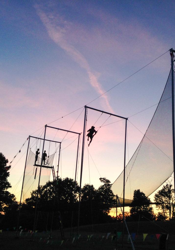 Trapeze setup at sunset
