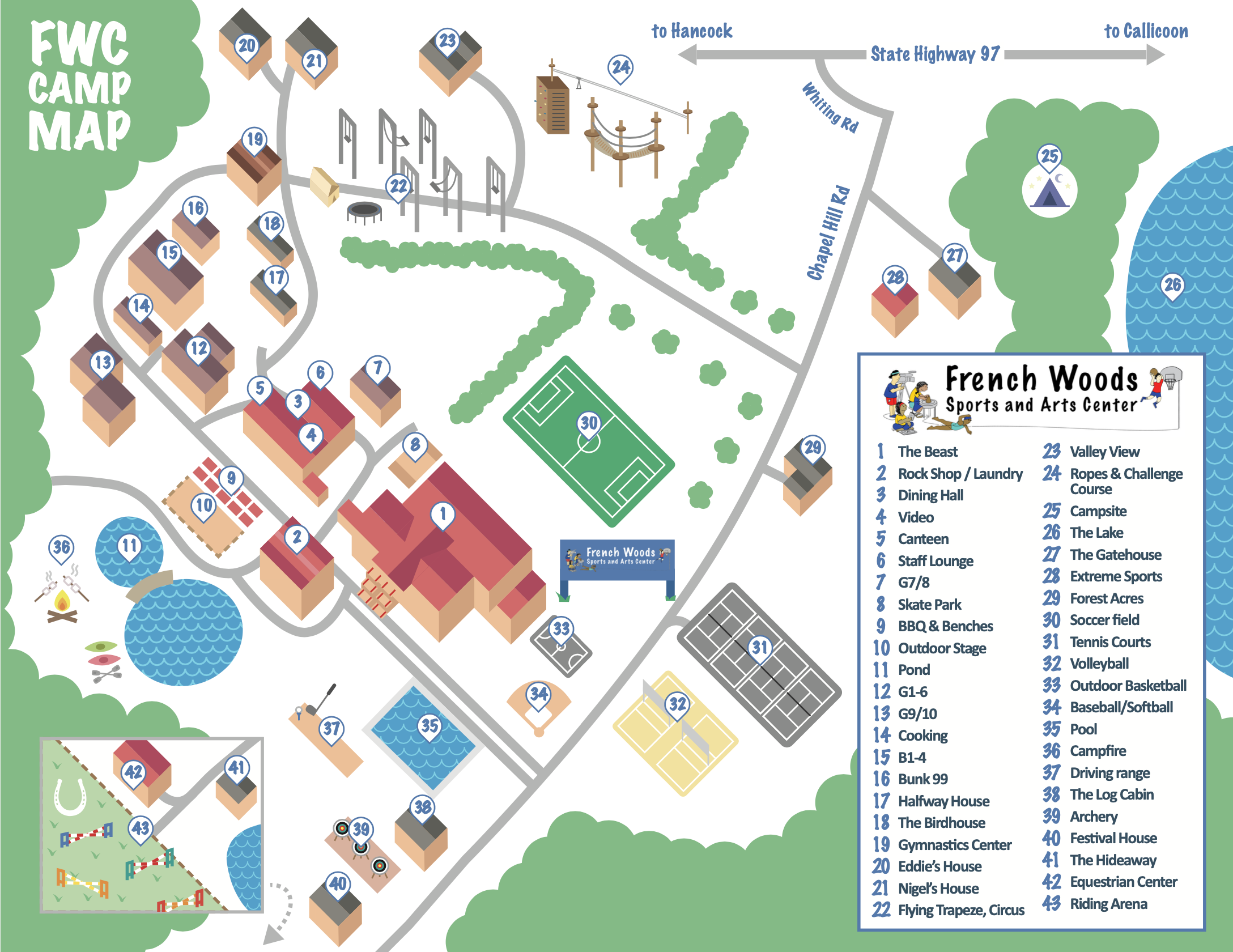 French Woods Campus map