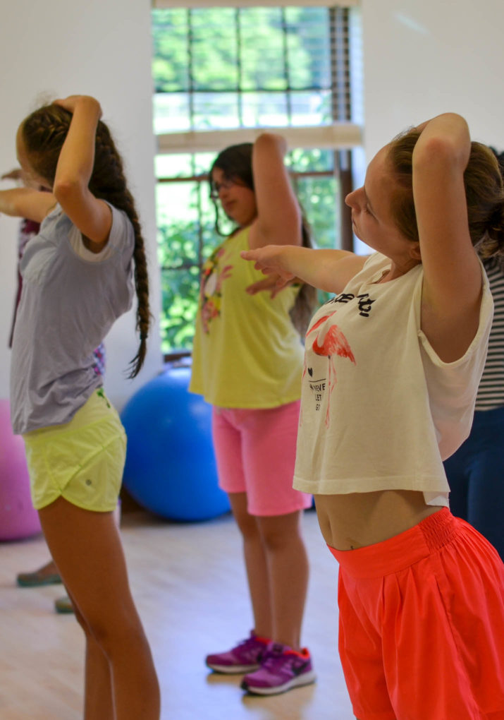 Campers stretching in dance class