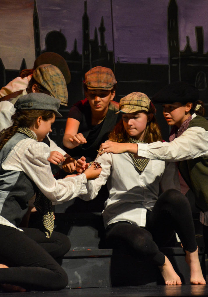Group of campers in a theater performance