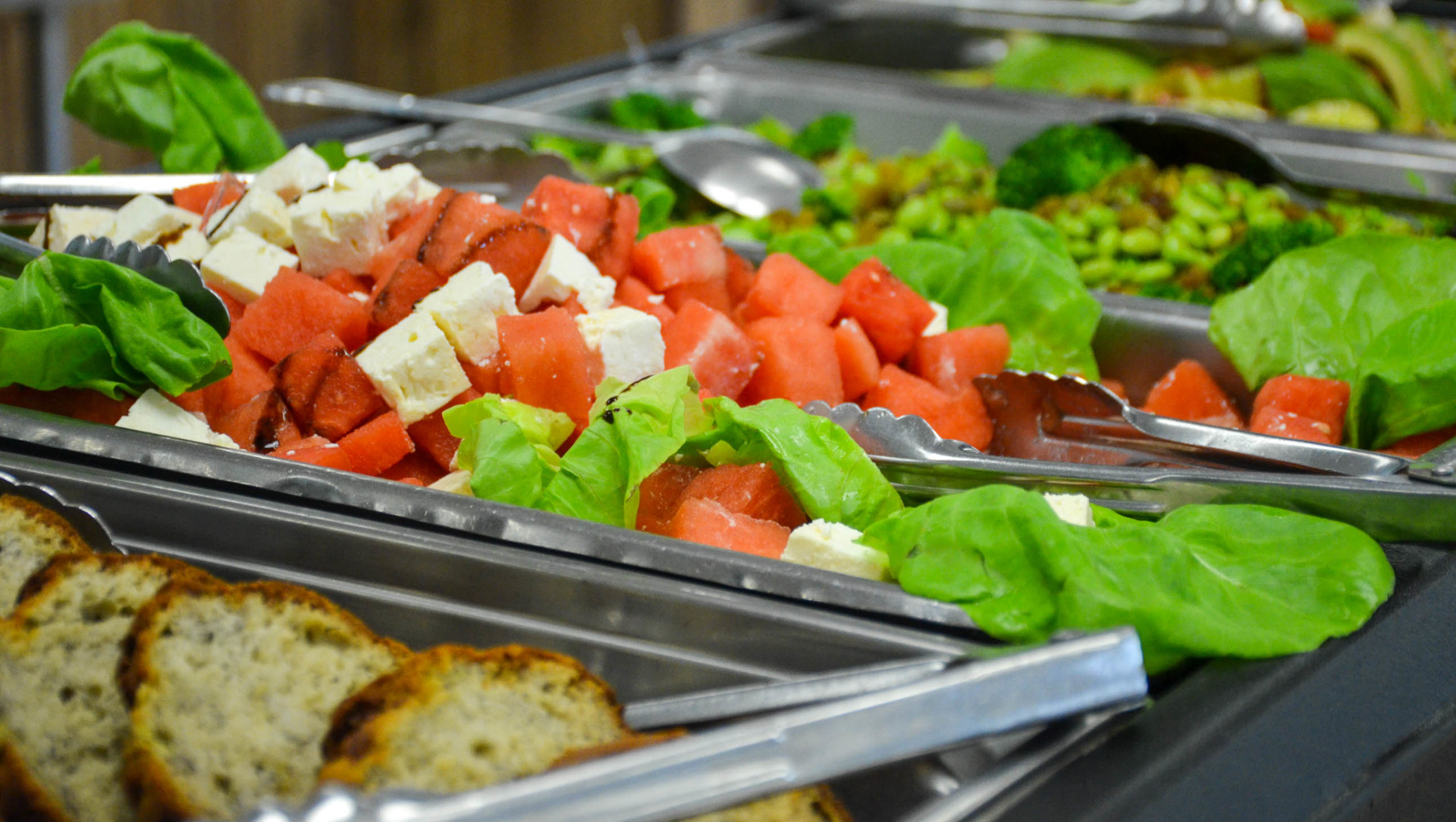 Buffet of salad and bread